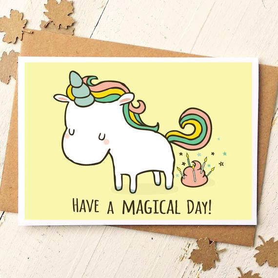 Unicorn Card Funny Birthday Card Unicorn Birthday Card