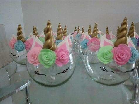 Unicorn Centerpieces  Glass Bowls From Dollar Store