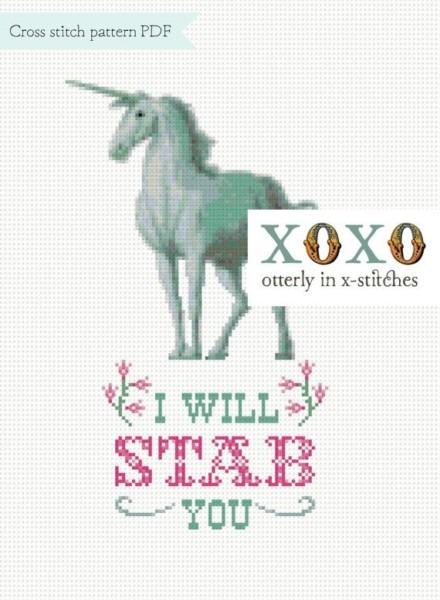 Unicorn Cross Stitch Pattern Digital Download Pdf File I Will Stab