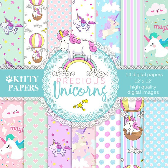 Unicorn Digital Paper    Precious Unicorns  Unicorn Digital