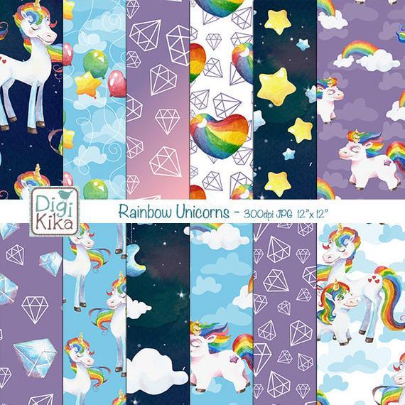 Unicorn Digital Papers Rainbow Unicorns Scrapbook Paper