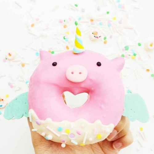 Unicorn Donut Pig W  Wings At The Beach On We Heart It