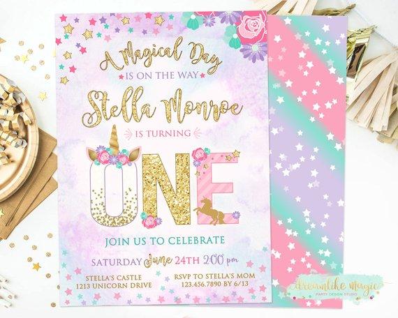 Unicorn First Birthday Invitation Magical Unicorn 1st Party
