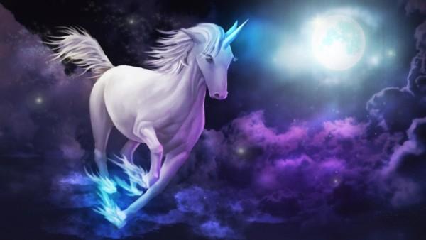 Unicorn Galloping Sky Clouds Full Moon Desktop Wallpaper Hd For