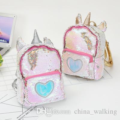 Unicorn Glitter Backpack Unicorn Bag Sequins Shoulder Bag Back