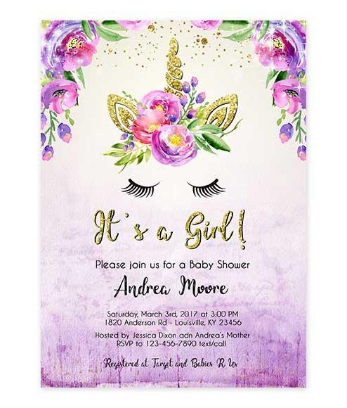 Unicorn Gold Glitter Purple Watercolor Baby Shower Editable Invite