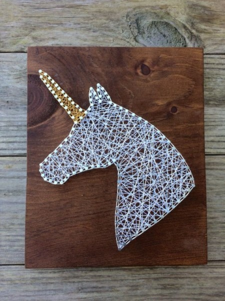 Unicorn Handmade Rustic Wood String And Nail Art Sign, 9x11 Inches