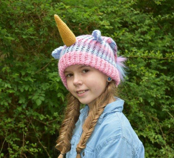 Unicorn Hat Pink Unicorn Hat Knitted Unicorn Hat Knit