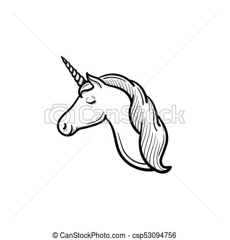 Unicorn Head With Horn Hand Drawn Sketch Icon  Vector Hand Drawn