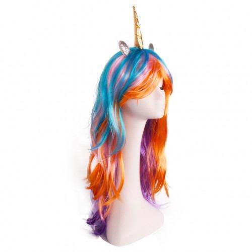 Unicorn Horn Wig With Ears Headband Hairpiece Rainbow Long Curly