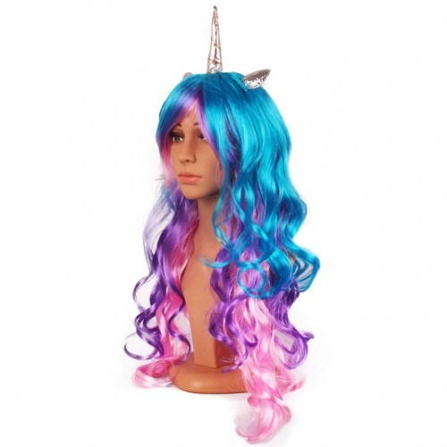 Unicorn Horn Wig With Ears Headband Hairpiece Rainbow Long Curly