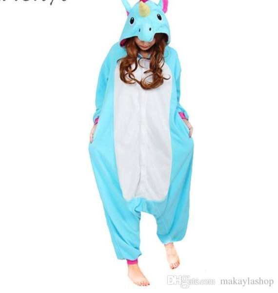 Unicorn Pajamas Women Cosplay Costume Animal Onesie Girls Blue