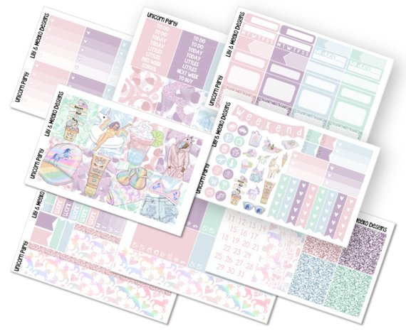 Unicorn Party Planner Sticker Kit Deluxe No White Space