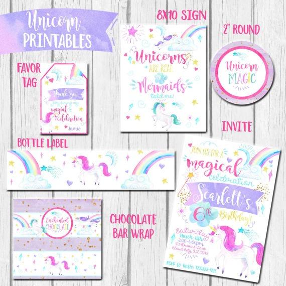 Unicorn Party Theme, Printable Unicorn Invitation, Rainbow