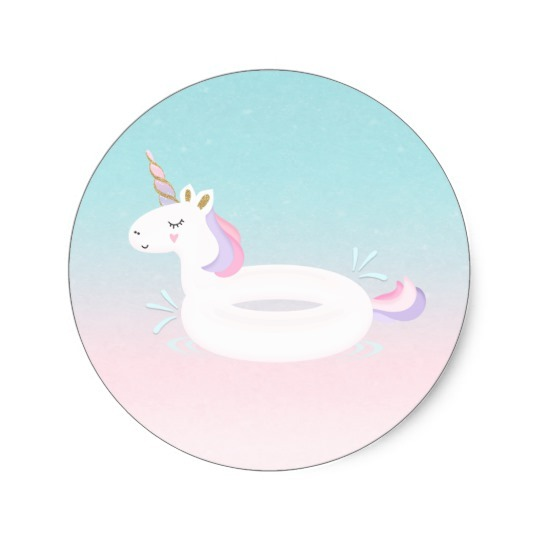 Unicorn Pool Party Favor Tag Sticker Pool Party