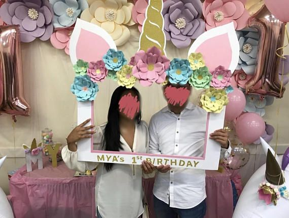 Unicorn Theme Photo Booth Frame, Custom Photo Booth Props