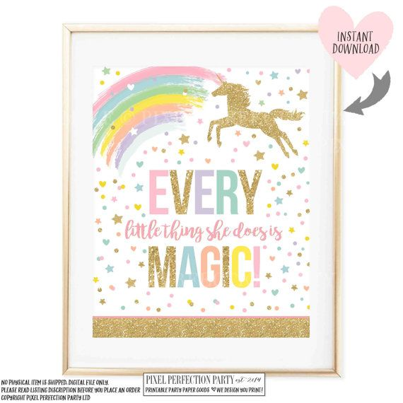 Unicorn Wall Quote Unicorn Party Sign Every Little Thing She Does