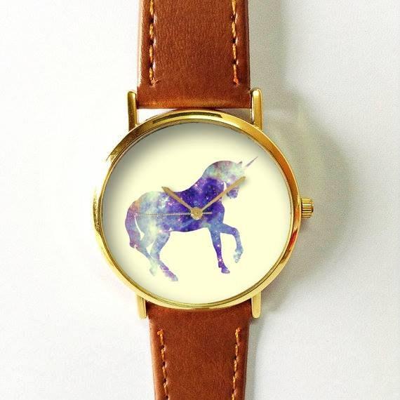 Unicorn Watch, Women Watches, Men's Watch, Vintage Style Leather