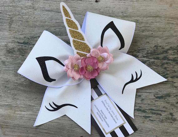 Unicorn White Glitter Cheer Bow