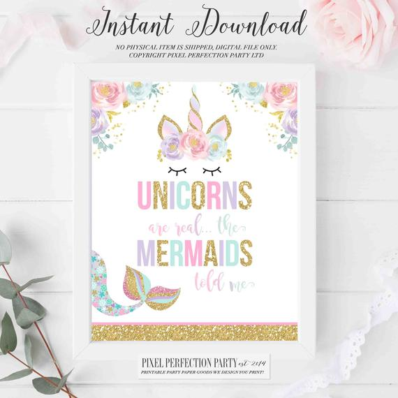 Unicorns Are Real The Mermaids Told Me Sign Unicorn Wall Art