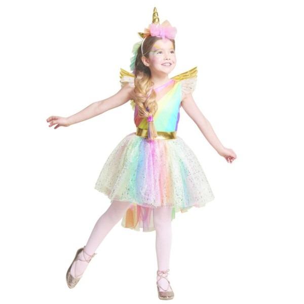 Unique Girls' Deluxe Rainbow Unicorn Costume Great For Halloween