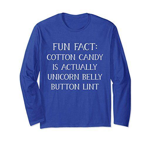 Unisex Fun Fact Cotton Candy Unicorn Belly Button Lint Long Sleeve