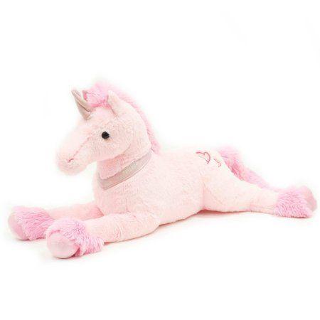 Valentine 32 Inch Large Lying Stuffed Plush Unicorn, Pink