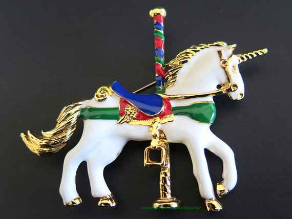 Vintage Unicorn Brooch Carousel Horse Pin Blue Red White Green