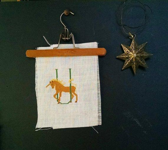 Vintage Unicorn Cross Stitch Letter U Monogram Alphabet Art