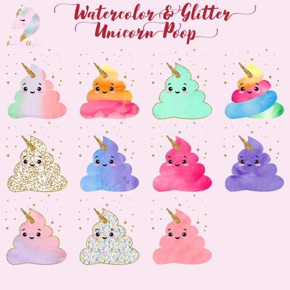 Watercolor Unicorn, Unicorn Poop Clipart, Poo Clip Art, Cute