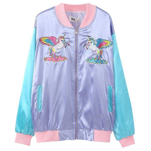 Winged Unicorn Bomber Jacket ($35) ❤ Liked On Polyvore Featuring