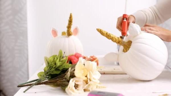 Woman Gluing Horn Ears Craft Pumpkin Make Unicorn Theme Halloween