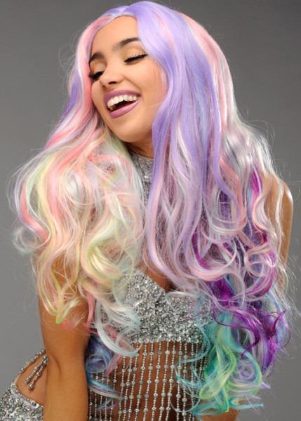 Womens Long Pastel Rainbow Unicorn Wig