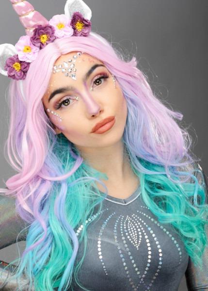 Womens Pastel Rainbow Unicorn Wig