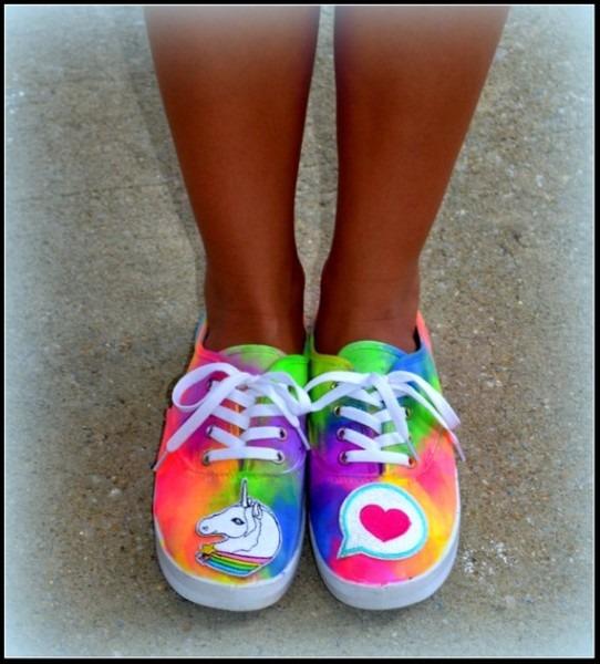 Womens Shoes Unicorn Sneakers Emoji Shoes Rainbow Emoji