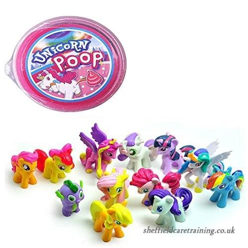 Yo!zor Unicorn 12 Pcs Little Pony Play Cake Toppers & Unicorn Poo