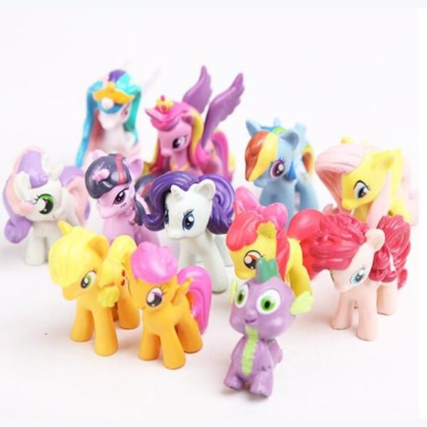 12 Pcs Plastic Horses Cute Patroled Pvc Unicorn Toys For Birthday