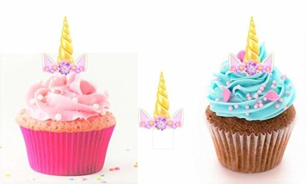 12 Pre Cut Edible Standing Unicorn Horn And Ears Cupcake