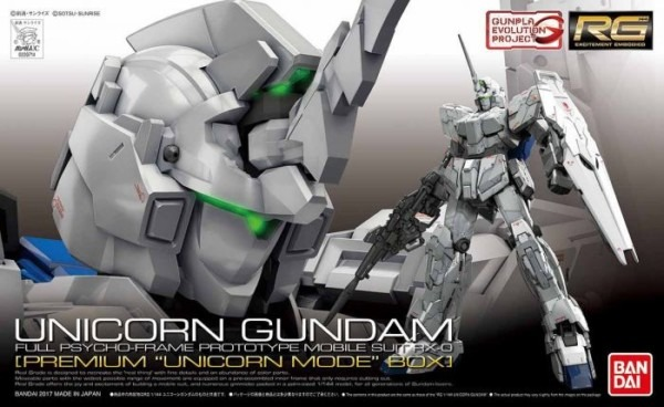 1 144 Scale Rg Unicorn Gundam (premium  Unicorn Mode  Box) By Bandai