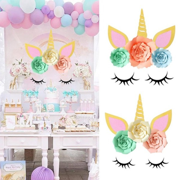 1 Pack Birthday Party Paper Backdrop Diy Decoration Unicorn Theme