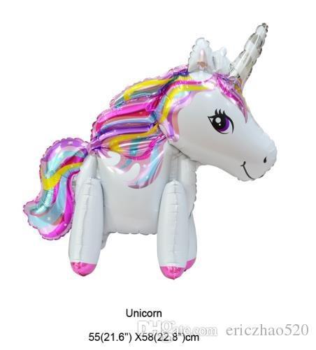 2018 New Aluminium Kid Cartoon Balloons Animal 3d Unicorn Birthday