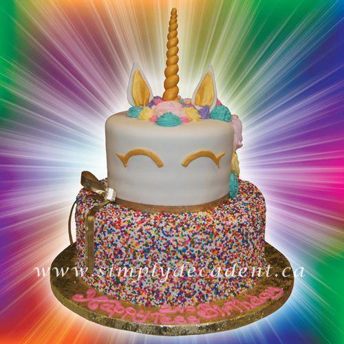 2 Tier Unicorn Birthday Cake With Coloured Sprinkles On Bottom