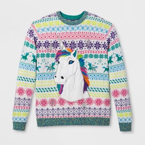 33 Degrees Men's Ugly Christmas Rainbow Unicorn Long Sleeve
