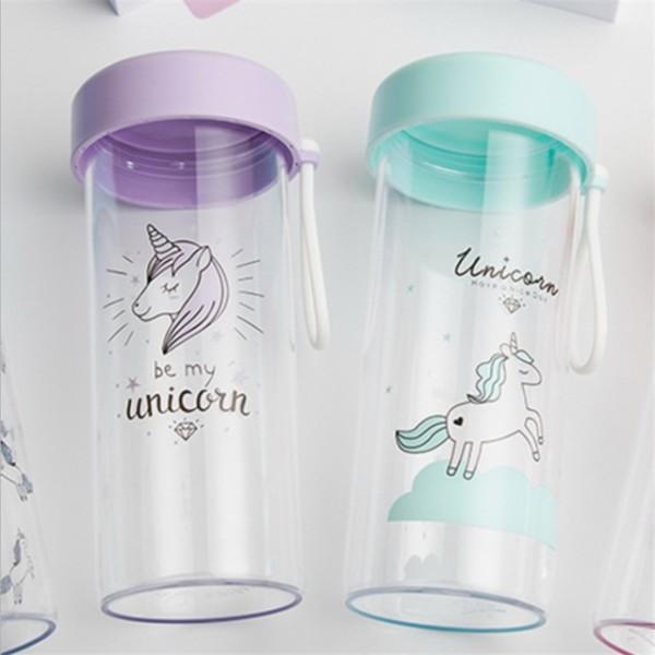 450ml Cute Unicorn Cartoon Plastic Water Bottle Sport Baby Shower