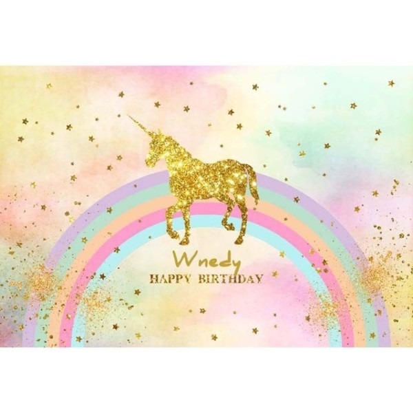 7x5f Happy Birthday Gold Glitter Unicorn Rainbow Spots Sky Custom