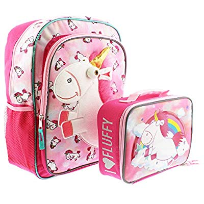 80 Off Despicable Me Fluffy Unicorn 16 Inch Backpack And Lunch Box