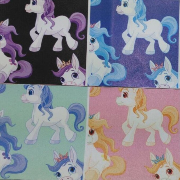 90x134cm Synthetic Leather Faux Leather Fabric Printed Pony Horse