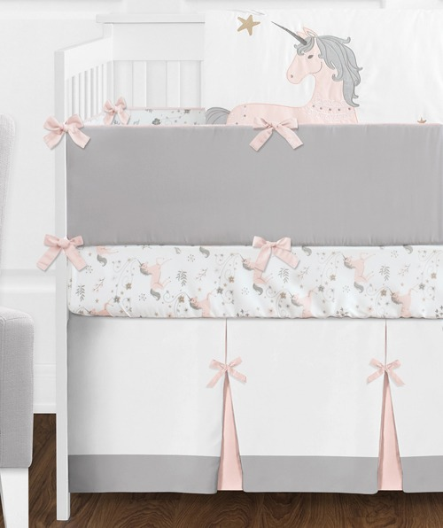 9 Pc  Pink, Grey And Gold Unicorn Baby Girl Crib Bedding Set With