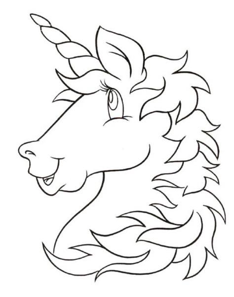 A Cartoon Head Figure Of Unicorn Coloring Page  A Cartoon Head