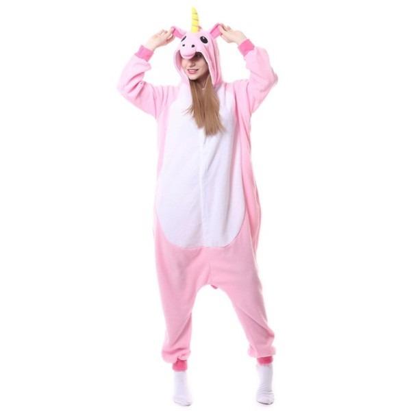 Adult Pyjamas Cosplay Costume Pink Unicorn Onesie Sleepwear